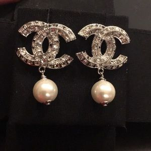 Chanel Classic CC Logo Crystal and Pearl Earrings